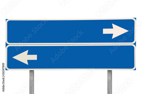 Photo Blue Crossroads Road Sign And Two Arrows, Isolated