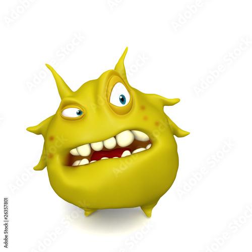 Poster de jardin Doux monstres big yellow virus
