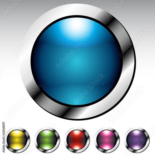 Fotografie, Obraz  Glossy Button Metallic Set