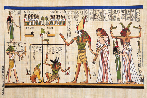 Cadres-photo bureau Egypte Antique egyptian papyrus and hieroglyph