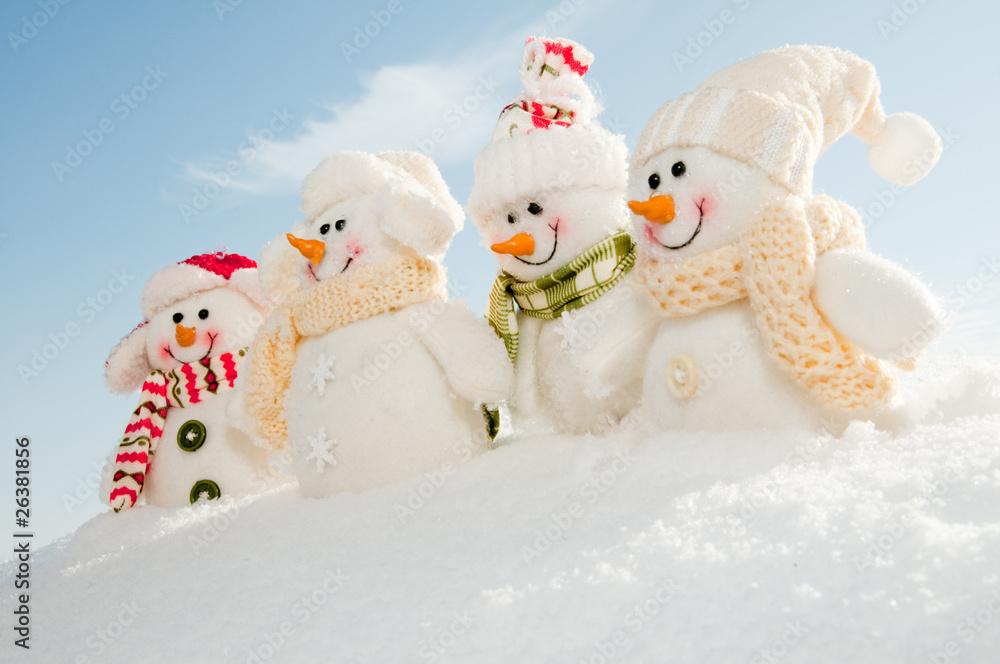 Foto-Doppelrollo - Happy snowman team