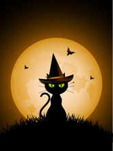 Halloween Witches Cat And Full Moon