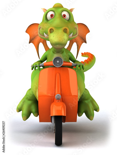 Poster Motocyclette Dragon en scooter