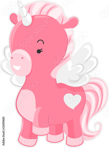 Deurstickers Pony Cute Pink Unicorn