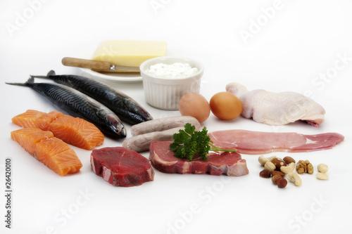Fotografie, Obraz  Meat, fish, eggs & chicken