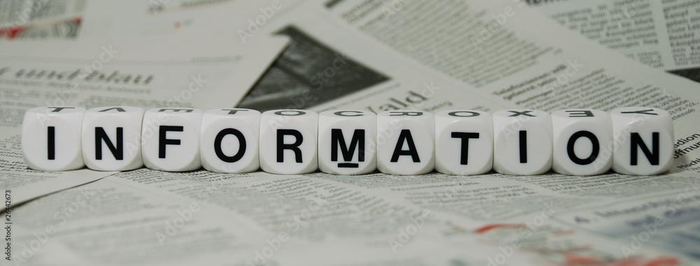 Fototapeta Information, mit Zeitungshintergrund