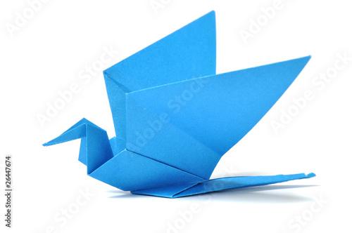 Origami bird over white Poster