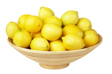 Tropical Fruits In The Woven Basket Isolated. Üandarins, Lemons.