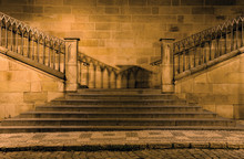 Detail Of Charles Bridge In Prague - Stairs In The Night