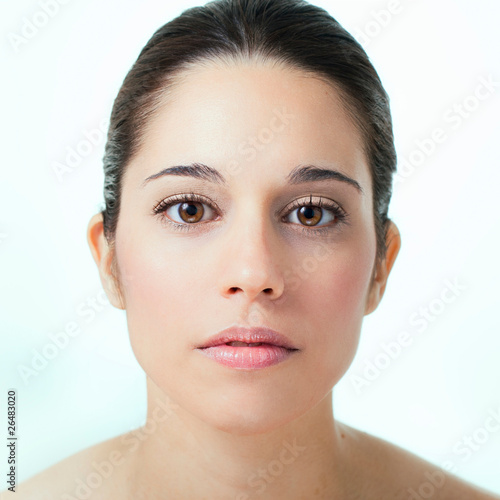 Fotografie, Obraz  Portrait of young adult woman with health skin of face