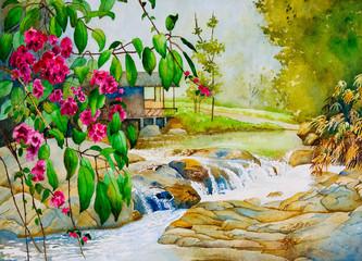 Panel Szklany Wodospad Thailand Spring