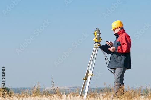 Fotografie, Obraz  surveyor theodolite worker