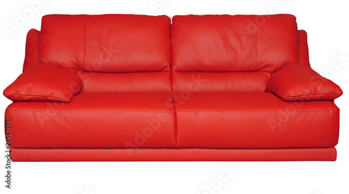 Image of a modern red leather sofa over white background ...