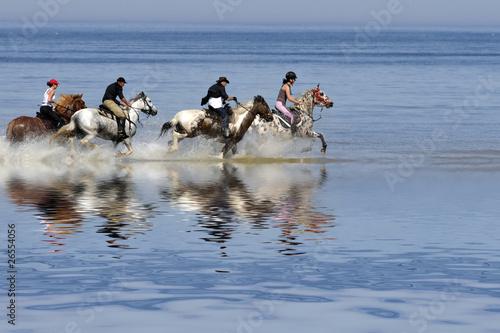 Photo  cavaliers sur la plage