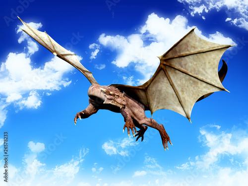 Poster Draken dragon turning arround to attack