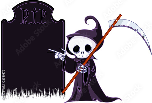 Photo  Cartoon grim reaper  pointing to tombstone