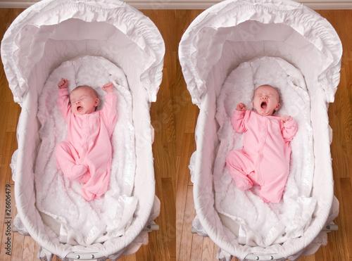 Photo Newborn Baby Girl Yawning in Bassinet