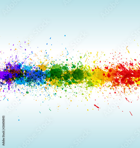 Color paint splashes. Gradient vector background Poster
