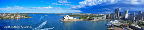 Photo Stands Australia Panorama of Sydney Harbor. Sydney, Australia