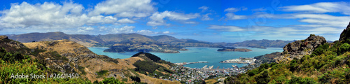 Fotobehang Nieuw Zeeland Panorama of Lyttleton Scenic Reserve and Lyttleton Harbor. New Z