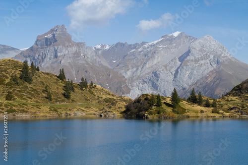 Foto op Plexiglas Blauw Bergsee