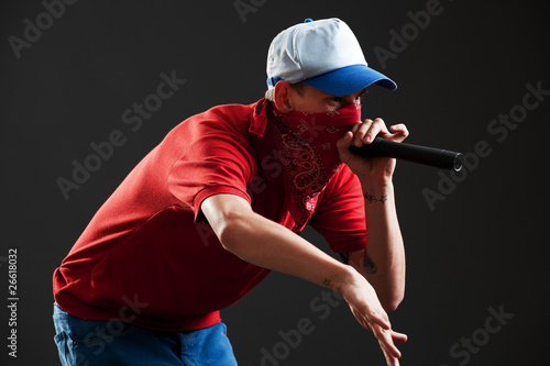 Fotografie, Obraz  rapper with microphone