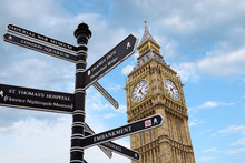 Big Ben And Street Signs, London, UK