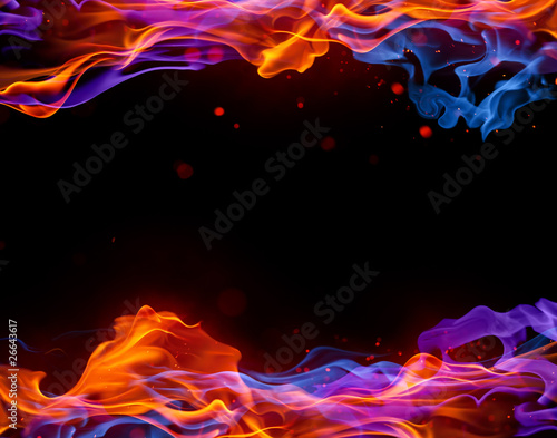Fotobehang Vuur Blue and red fire background