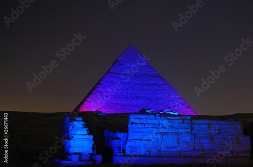 In de dag Egypte Egypt - Pyramids at Night