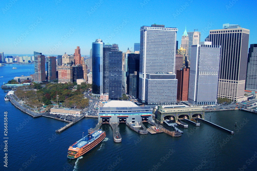 Fototapety, obrazy: View from the water to Manhatan, New York City, USA