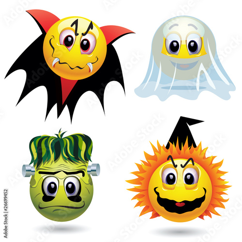 Poster de jardin Creatures Smiley balls with Halloween mask