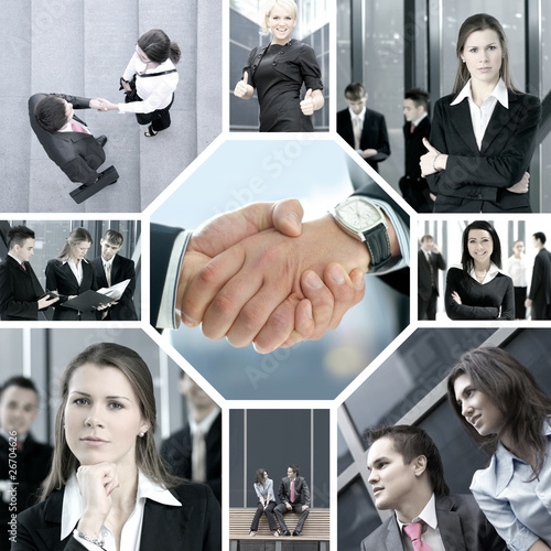 Obraz A collage of business images with young people in offices - fototapety do salonu