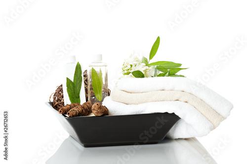Handtucher In Einer Vase Mit Shampoo Und Dekoration Buy This Stock