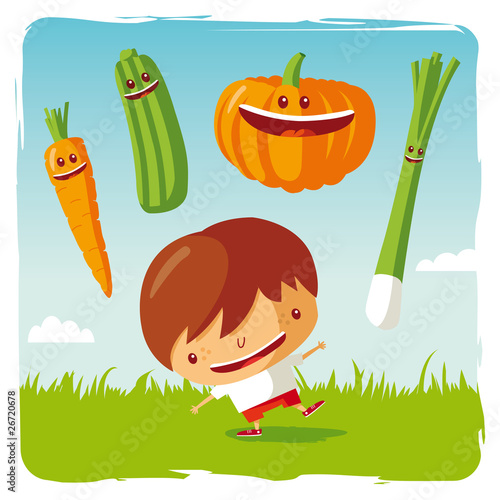 Photo  boy with funny vegetables
