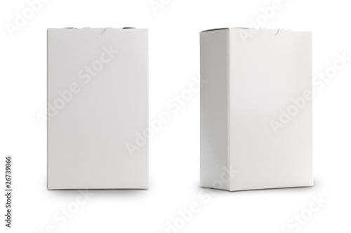 boîte blanche sur un fond blanc de profil et de face Canvas Print
