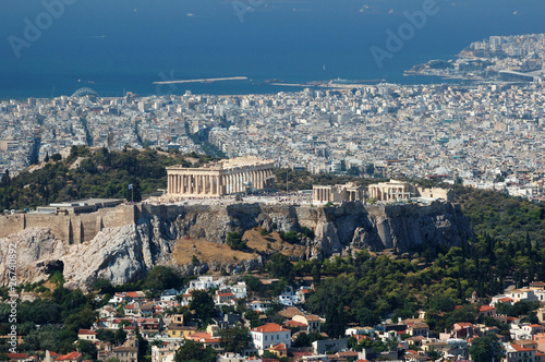 View of Acropolis from Lykavittos hill - highest point of Athens