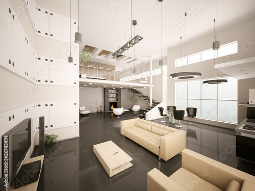 Staande foto Industrial geb. Modern apartment interior 3d render