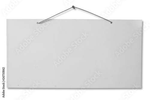 Fotografía White lacquered sheet hanging on a nail - clipping path