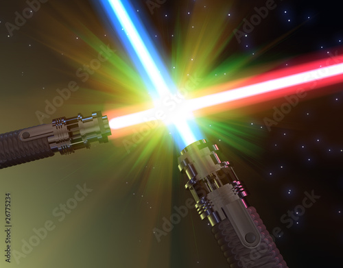Photo  Battle with light sabers