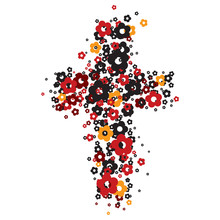 Illustration Of A Cross Made From Flowers