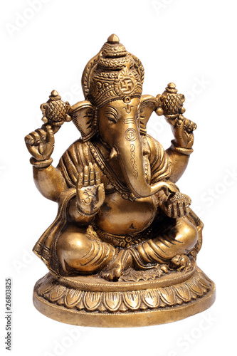 Photo  Hindu God Ganesh isolated on white with clipping path