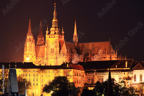 Poster Prague The night View on bright Prague gothic Castle