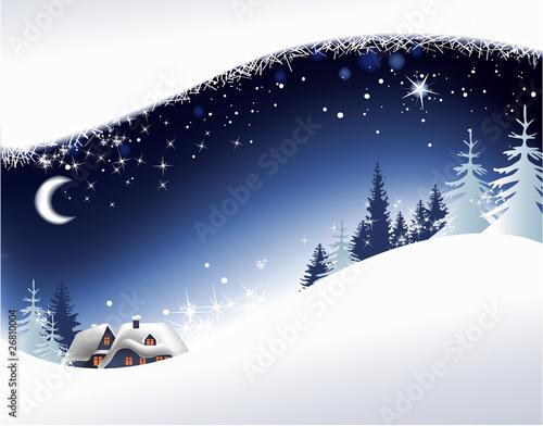 Foto-Plissee - Christmas landscape background (von czibo)