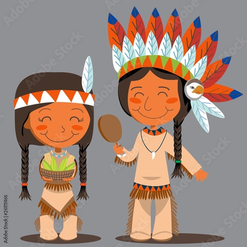 Poster Indiens Thanksgiving Day Native American Couple