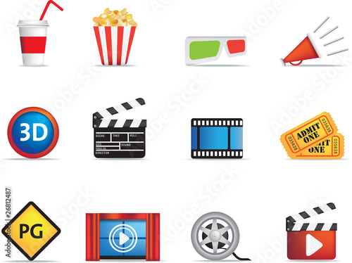 movie and cinema icon set Wallpaper Mural