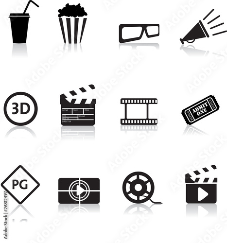 movie and cinema icon set Canvas Print
