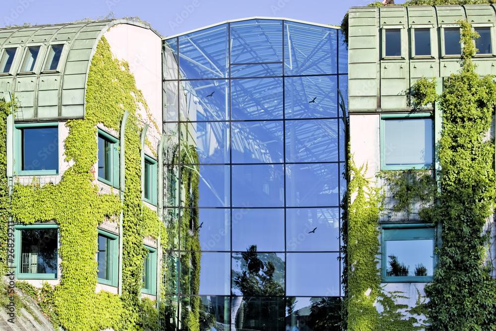Fototapeta Ecological modern building .Warsaw University.Europe.