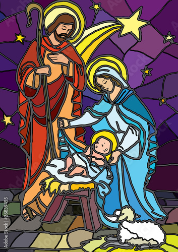Nativity in stained glass. #26839455