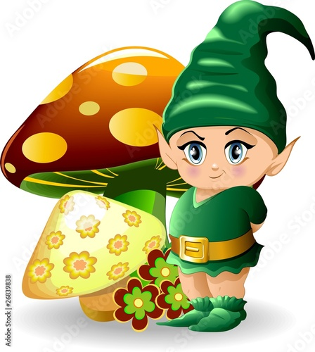 Deurstickers Feeën en elfen Folletto con Funghi-Baby Goblin and Mushrooms-Vector