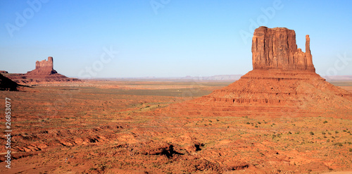 Photo Stands Egypt Monument Valley Desert Terrain